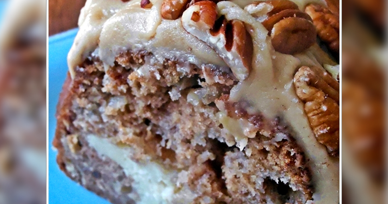 APPLE AND CREAM CHEESE BUNDT CAKE WITH CARAMEL PECAN TOPPING
